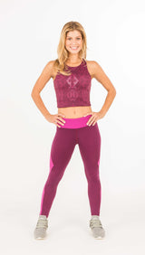 CORE PERFORMANCE LONG LEGGING - Black Mesh Combo and Indigo - Spitfire Petite
