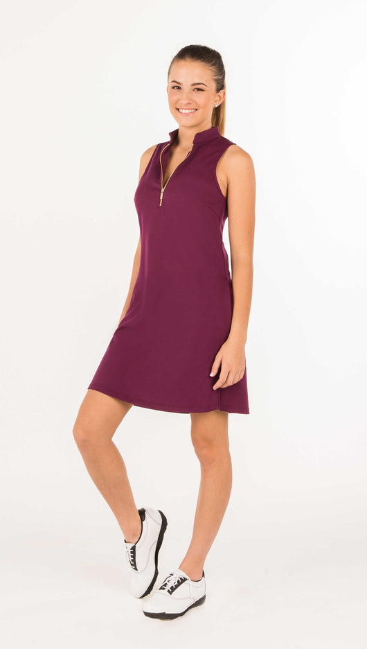 FINAL SALE - COURSE-TO-COCKTAILS SLEEVELESS SHIRTDRESS - Burgundy - Spitfire Petite