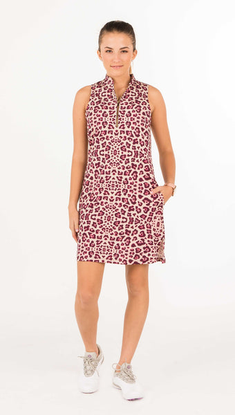 COURSE-TO-COCKTAILS SLEEVELESS PETITE SHIRTDRESS - Leopard Print