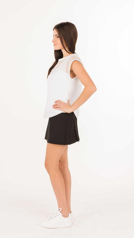 FINAL SALE - FINE MESH LACE COMBO TEE SHIRT - Black or White - 1 LEFT - Spitfire Petite