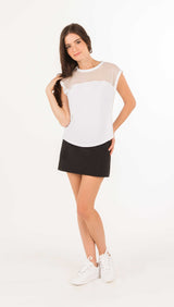 MESH LACE COMBO TEE SHIRT - FINE MESH LACE BLACK or WHITE