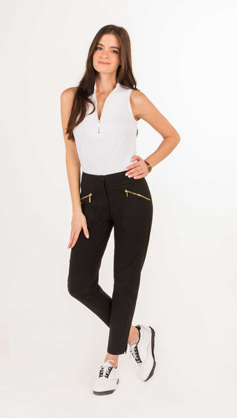 COURSE-TO-COCKTAILS SLEEVELESS PETITE TOP - Black, White & Burgundy