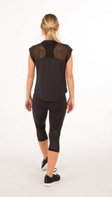 FINAL SALE - Fine Mesh Lace Combo Tee Shirt - Black or White - 1 LEFT - Amy Sport