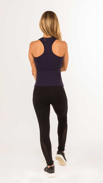 Core Performance Long Legging - Black Mesh Combo and Indigo - Amy Sport