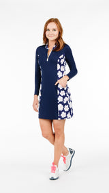 THE KATELYN PETITE DRESS - Navy Daisy Combo - Spitfire Petite