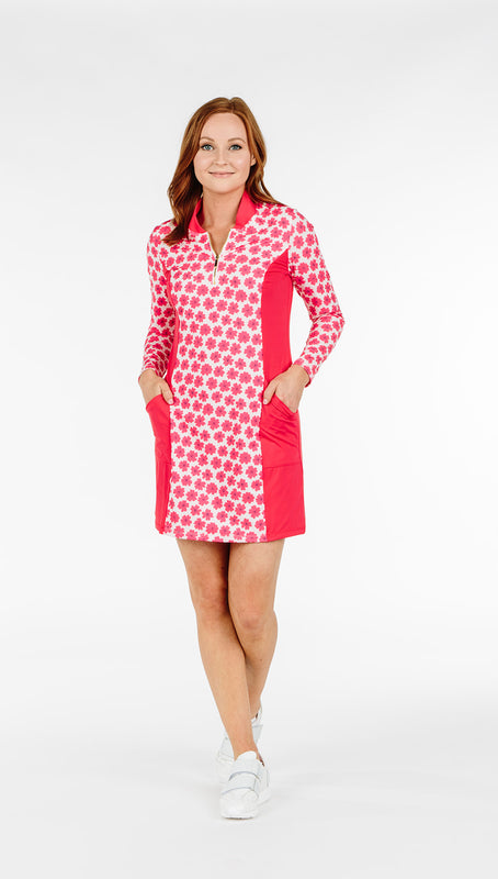 THE KATELYN DRESS - Coral Daisy Combo - Spitfire Petite
