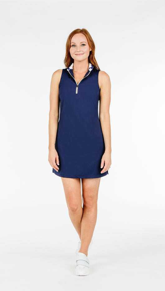 COURSE-TO-COCKTAILS SLEEVELESS PETITE SHIRTDRESS - Navy - Spitfire Petite