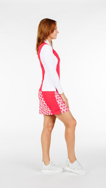 Katelyn Long Sleeved Top - White/ Coral - 5 LEFT - Amy Sport