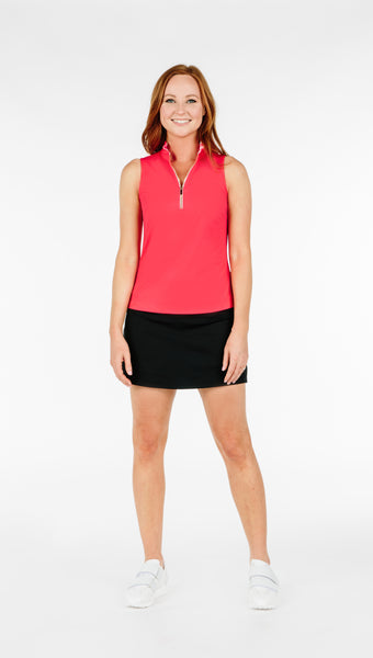 COURSE-TO-COCKTAILS SLEEVELESS PETITE TOP - Coral - Spitfire Petite