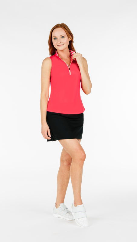 COURSE-TO-COCKTAILS SLEEVELESS TOP - Coral - Spitfire Petite