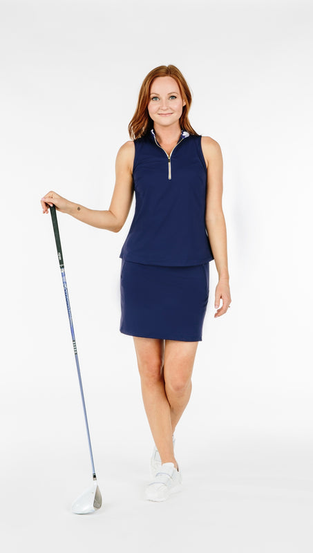 COURSE-TO-COCKTAILS SLEEVELESS TOP - Navy - Spitfire Petite