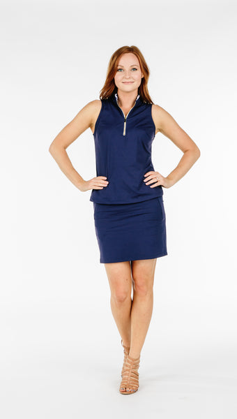 COURSE-TO-COCKTAILS SLEEVELESS PETITE TOP - Navy - Spitfire Petite