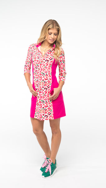 NANCY 3/4 SLEEVE PETITE DRESS - Leopard/Pink Combo