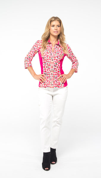 NANCY 3/4 SLEEVE PETITE TOP - Leopard/Pink Combo