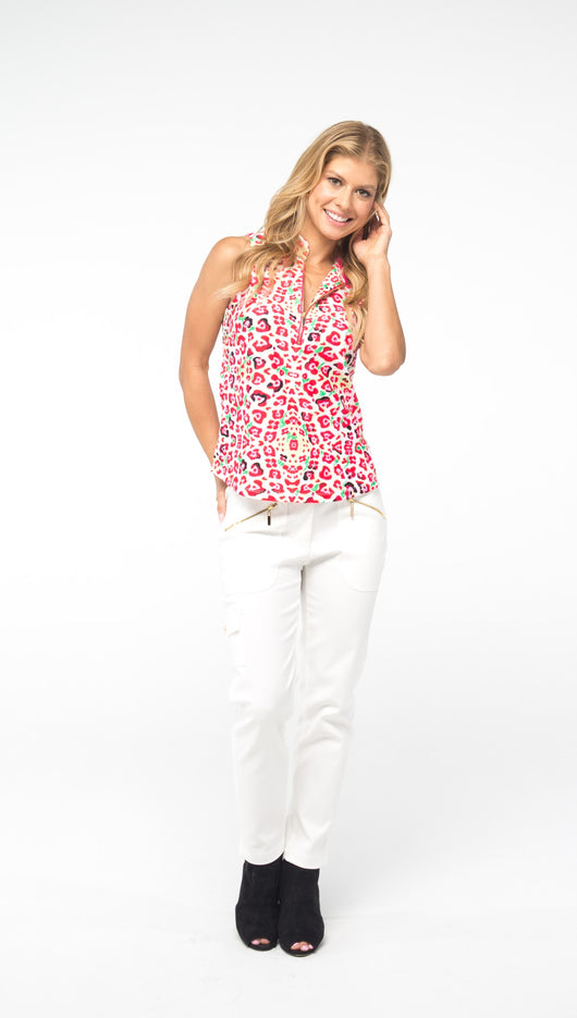 COURSE-TO-COCKTAILS SLEEVELESS PETITE TOP - Pink Leopard