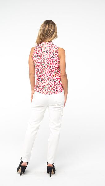 COURSE-TO-COCKTAILS SLEEVELESS PETITE TOP - FINAL SALE - Pink Leopard - Spitfire Petite