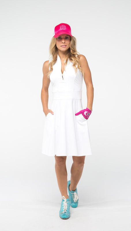 FIT & FLARE GOLF DRESS - White & Burgundy