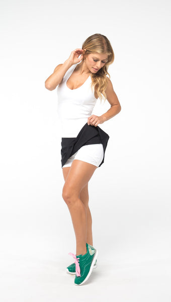 GRAND SLAM PLEAT-BACK SKIRT - Black - Spitfire Petite