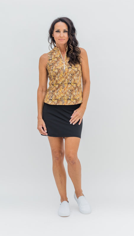 COURSE TO COCKTAILS SLEEVELESS TOP - GOLD SNAKE - Spitfire Petite