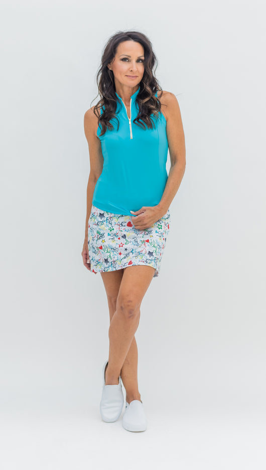 FRONTLINE GOLD ZIP SLEEVELESS TOP - TURQUOISE - 1 LEFT - Spitfire Petite