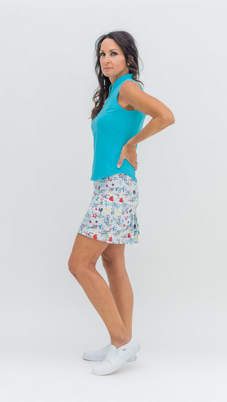 MARISA PLEATED SKORT - Graffiti White  - ONLY L & XL LEFT - Spitfire Petite