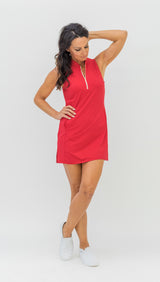 FRONTLINE GOLD ZIP SLEEVELESS DRESS - TUTTI FRUITI - 7 LEFT - Spitfire Petite