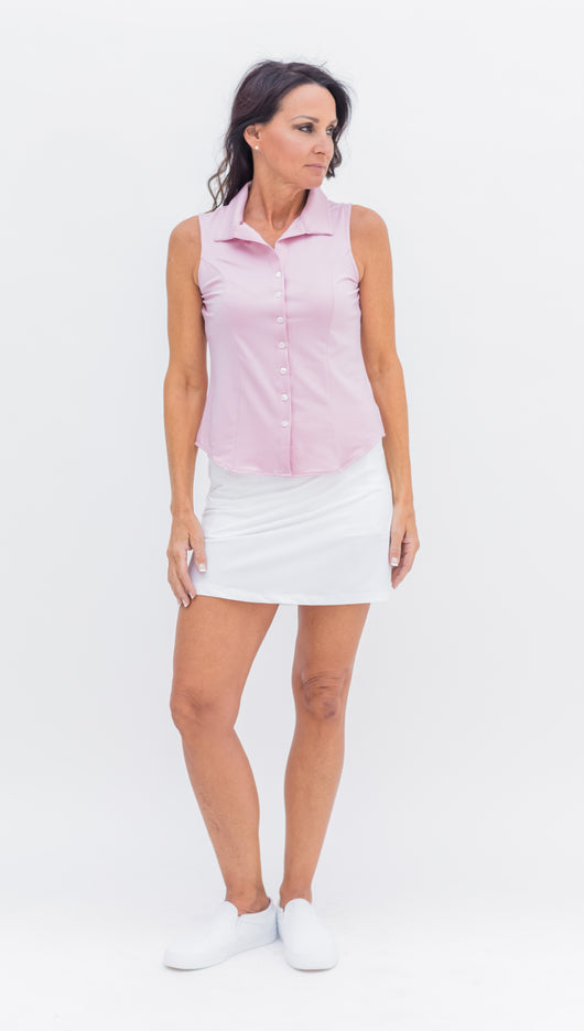 THE LAINE HERRINGBONE BLOUSE - PINK - Spitfire Petite