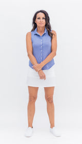 THE LAINE HERRINGBONE BLOUSE - BLUE - Spitfire Petite
