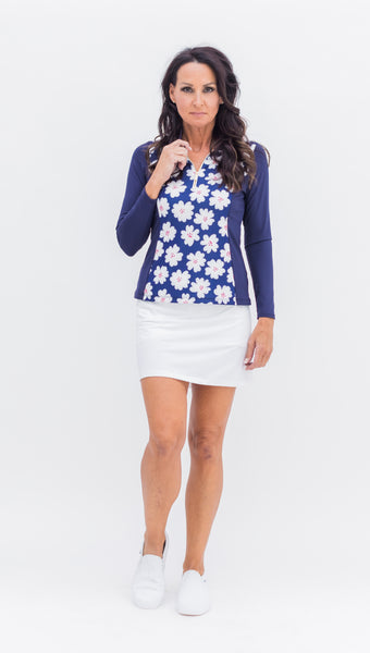 Katelyn Long Sleeved Top - Navy/Daisy Combo - 3 LEFT - Amy Sport