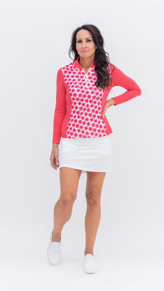 Katelyn Long Sleeved Top - Coral Daisy Combo - 6 LEFT - Spitfire Petite