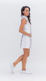Frontline Gold Zip Sleeveless Dress - Graffiti Grey/White Combo - Amy Sport