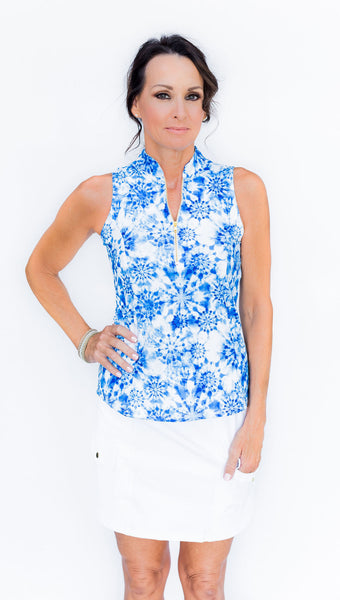 Frontline 2.0 Sleeveless Top - Blue Tie Dye - Amy Sport