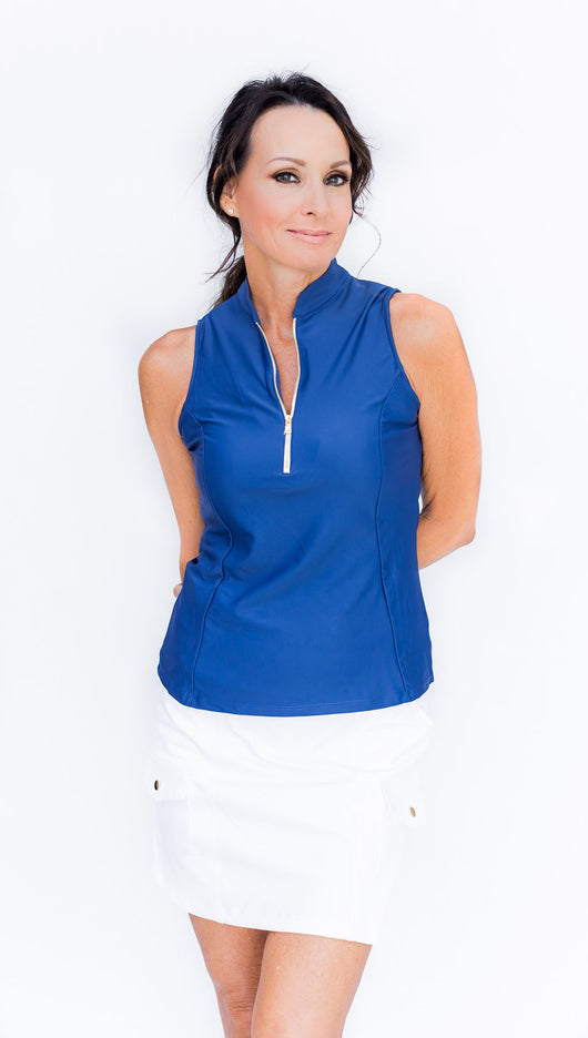 Frontline 2.0 Sleeveless Top - Mediterranean Blue - Amy Sport