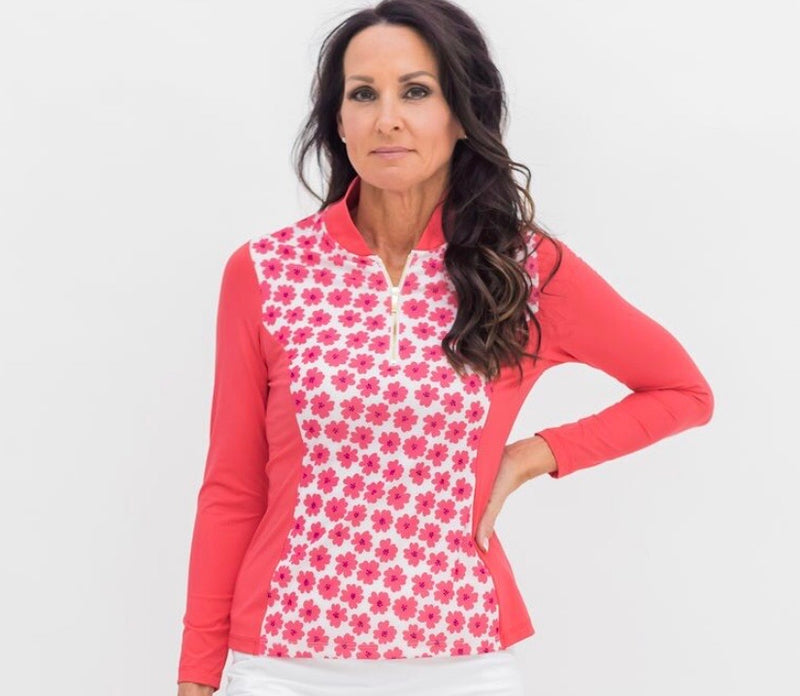 THE KATELYN TOP - Coral Daisy Combo - Spitfire Petite