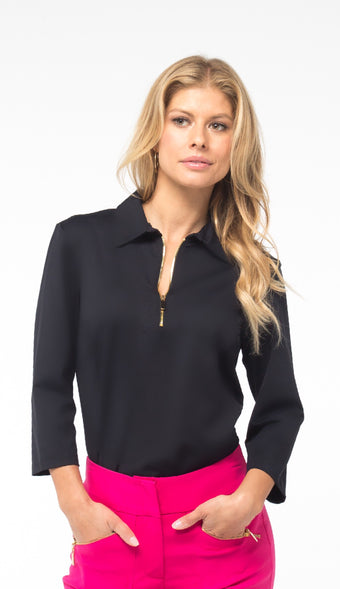 NANCY 3/4 SLEEVE PETITE TOP - Black