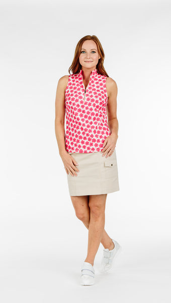 COURSE-TO-COCKTAILS SLEEVELESS PETITE TOP - Coral Daisy - Spitfire Petite