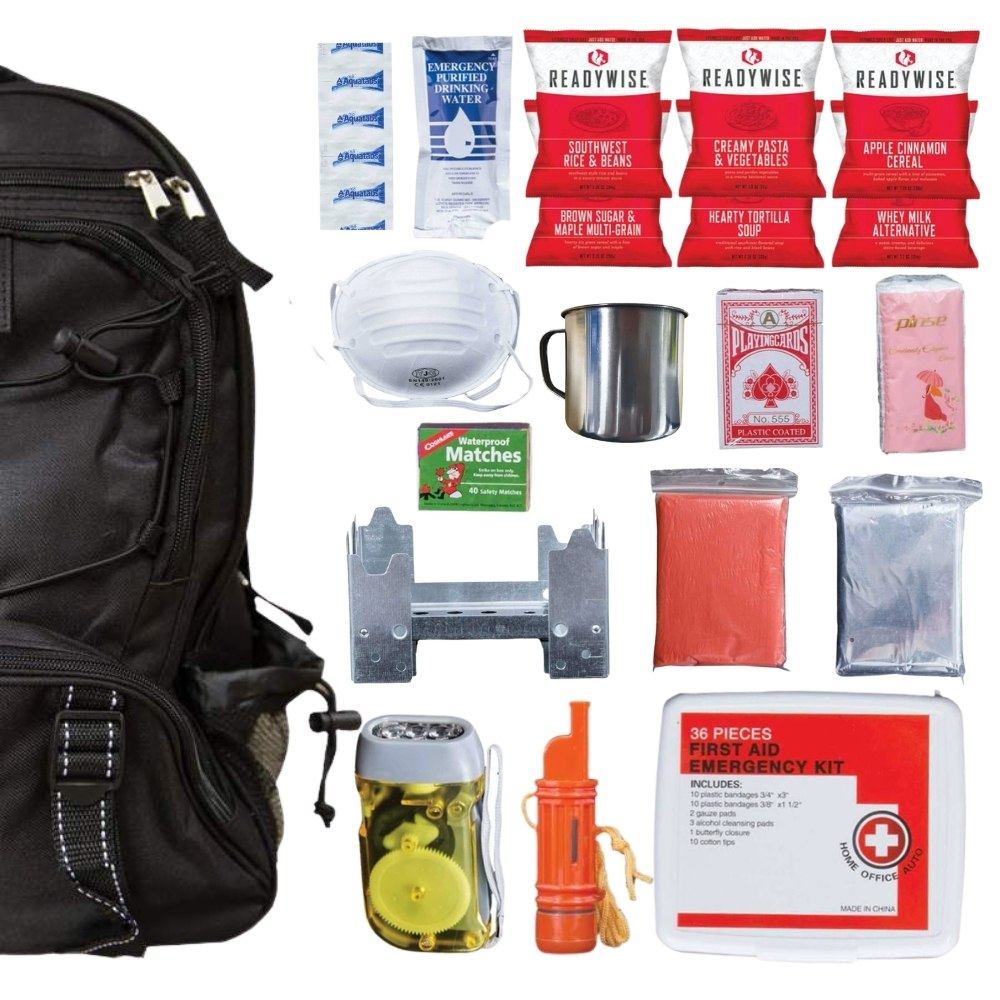 64 Piece Survival Kit w/Food & Water Black Backpack Contents