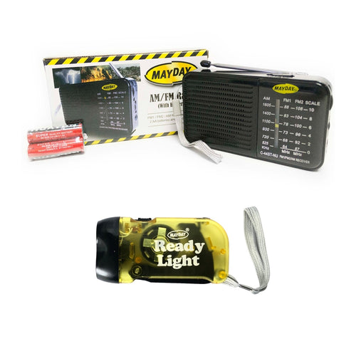 Survival Kit Fanny Pack AM/FM Radio + Batteries, Flashlight