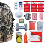 64 Piece Survival Kit w/Food & Water Camo Backpack Contents