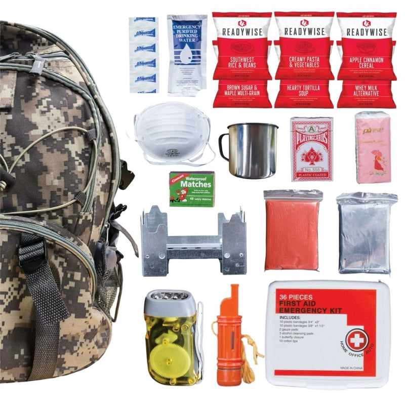 64 Piece Survival Kit w/Food & Water - Camo Backpack contents