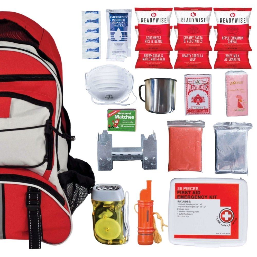 64 Piece Survival Kit w/Food & Water - Red Backpack Contents