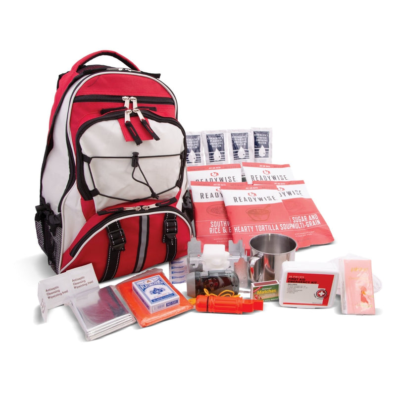 64 Piece Survival Kit w/Food & Water Red Backpack