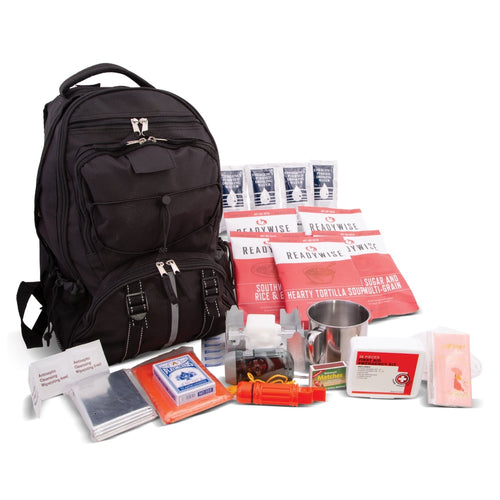64 Piece Survival Kit w/Food & Water Black Backpack