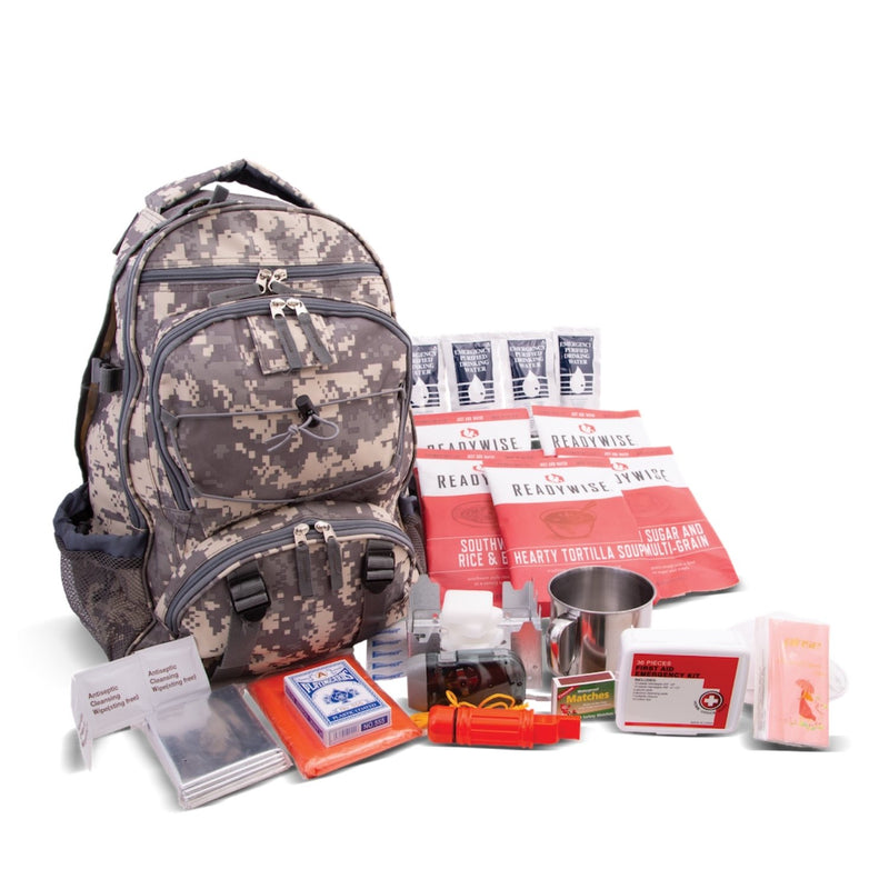 64 Piece Survival Kit w/Food & Water Camo Blackpack