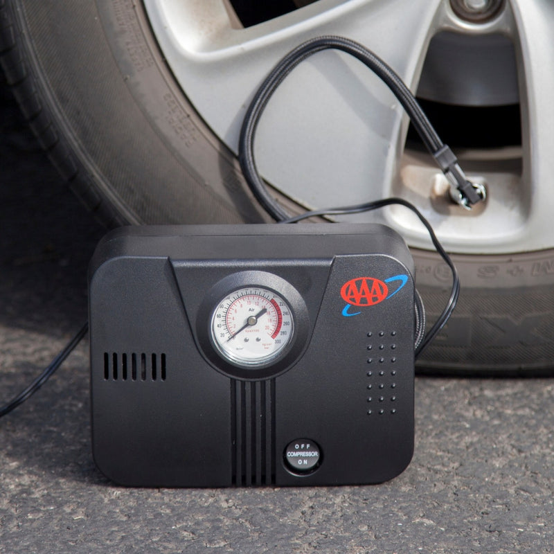 AAA Air Compressor - 12V Beside Tire In Use