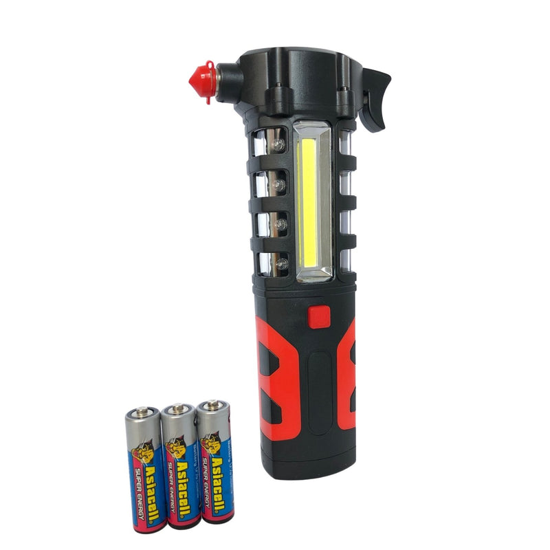 3 in 1 Emergency Hammer with LED Light + Seat Belt Cutter with 3 AAA batteries