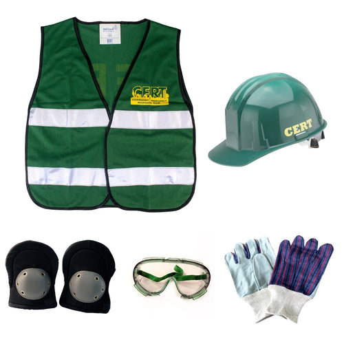 C.E.R.T. Action Response Unit Backpack Vest, Hard Hat, Knee Pads, Goggles + Work Gloves
