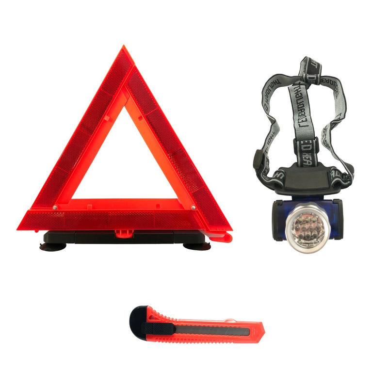 AAA Executive Emergency Roadside Kit Emergency Triangle, Utility Knife + Headlamp