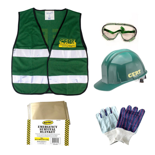 C.E.R.T. Starter Backpack Vest, Goggles, Hard Hat, Survival Blanket, Work Gloves