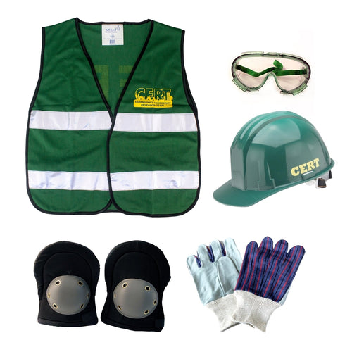 C.E.R.T. Deluxe Action Response Unit Vest, Goggles, Hard Hat, Knee pads, Work Gloves